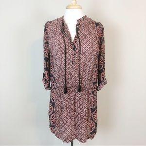 Tolani Mix Print Tie Front Amanda Tunic Dress
